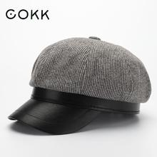 Hats Cap Beret Winter COKK Women for Brim Octagonal Casual Autumn British Retro Ladies