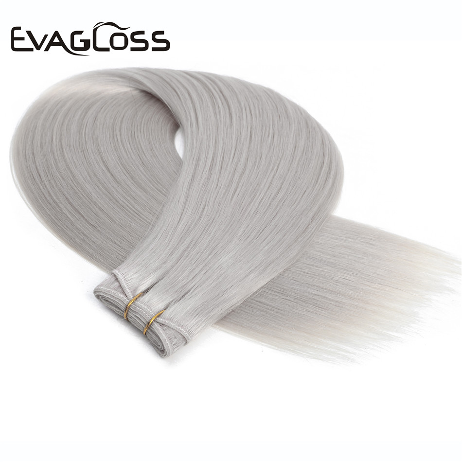 EVAGLOSS 100g Natural Real Remy Human Hair Weft Weavon Cuticle Aligned Russian/European Human Hair Extensions