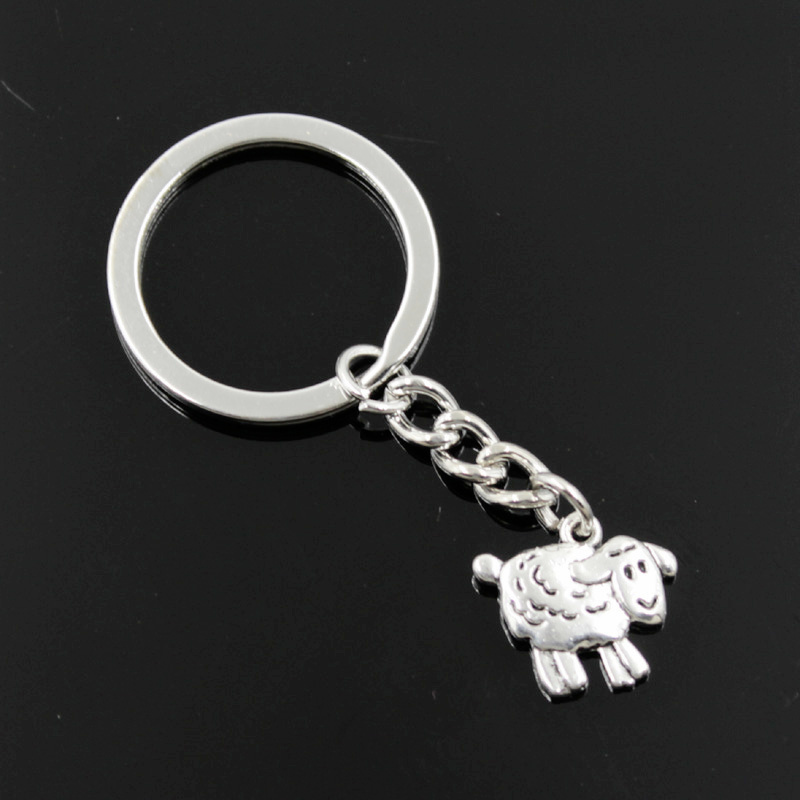 New Fashion Men 30mm Keychain DIY Metal Holder Chain Vintage Sheep Lamb 18x16mm Silver Pendant Gift