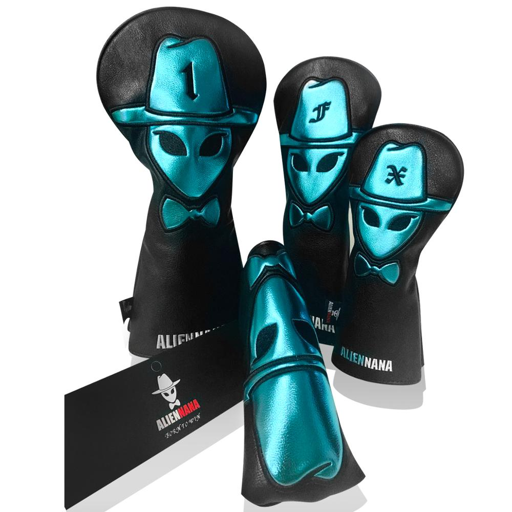 Golf club headcover set Aliennana Leather Hand-Made 1 Wood driver head cover Fairway golf headcvoer Hybird covers golf club wood head covers Gothic for EPIC  M6 GEN2 Cool Blue title=