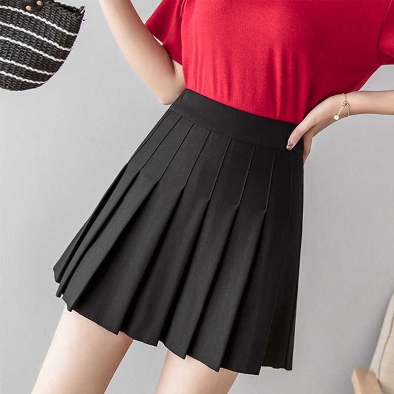 Wysoka talia koreański styl kobiet plisowana spódnica słodkie słodkie dziewczyny spódnica szkolna jednolite tenis spódnica jednolity kolor plisowana spódnica