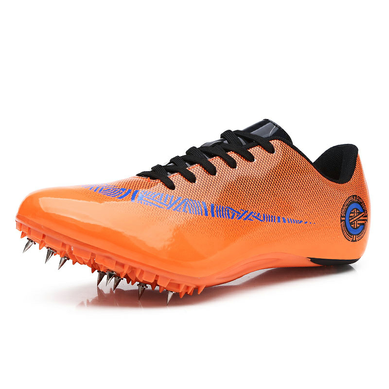 Мужские и женские спортивные кроссовки с шипами на шнуровке для подростков; спортивные кроссовки с шипами; цвет оранжевый, зеленый; мужские кроссовки для бега; спортивная обувь - Цвет: Orange