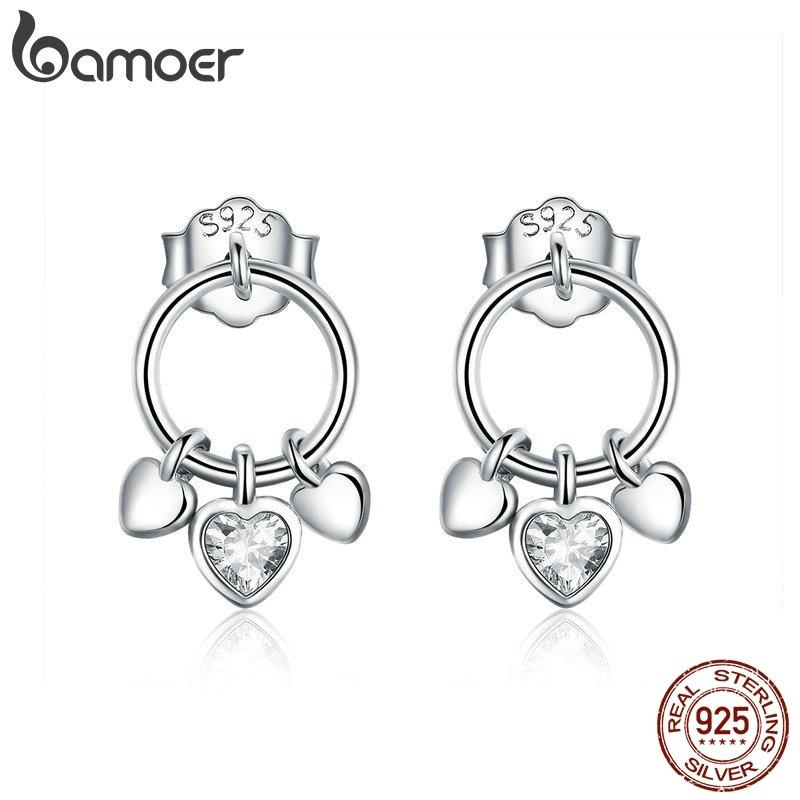 BAMOER Romantic Genuine 925 Sterling Silver Heart To Heart Stud Earrings For Women Clear CZ Sterling Silver Jewelry Gift SCE494