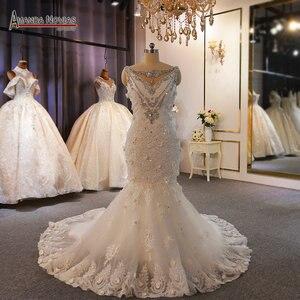 Image 1 - מיוחד עיצוב שמלות כלה מלא ואגלי תחרה חתונה שמלת בת ים
