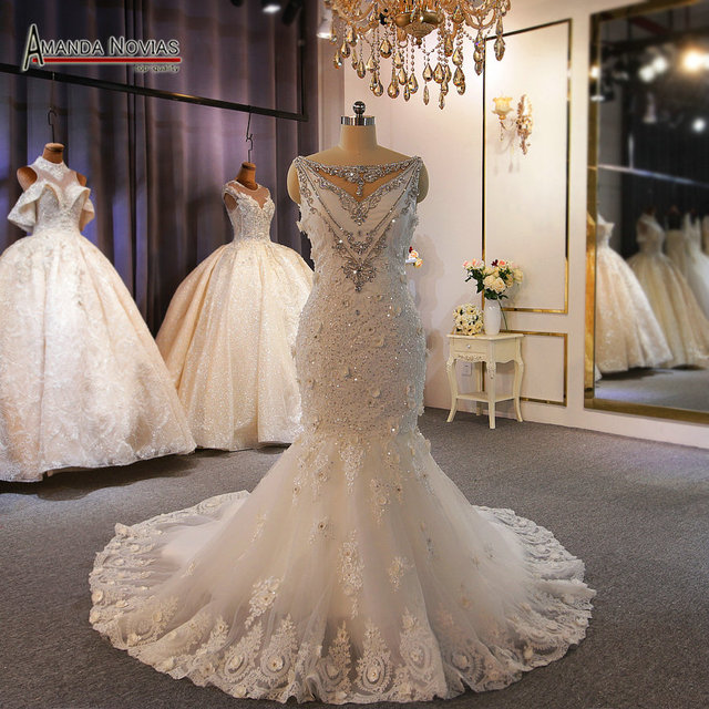 Special design wedding gowns full beading lace wedding dress mermaid