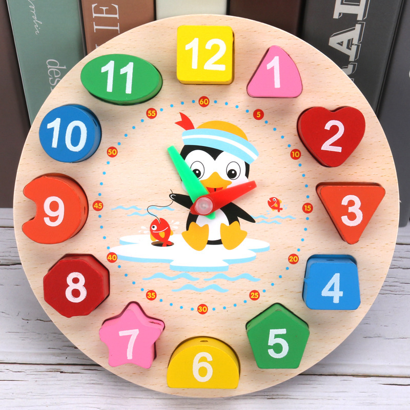 With Numbers Clock Product Wooden Beaded Bracelet Threading Clock Early Education Shape Matching Jigsaw Puzzle CHILDREN'S Toy 1-