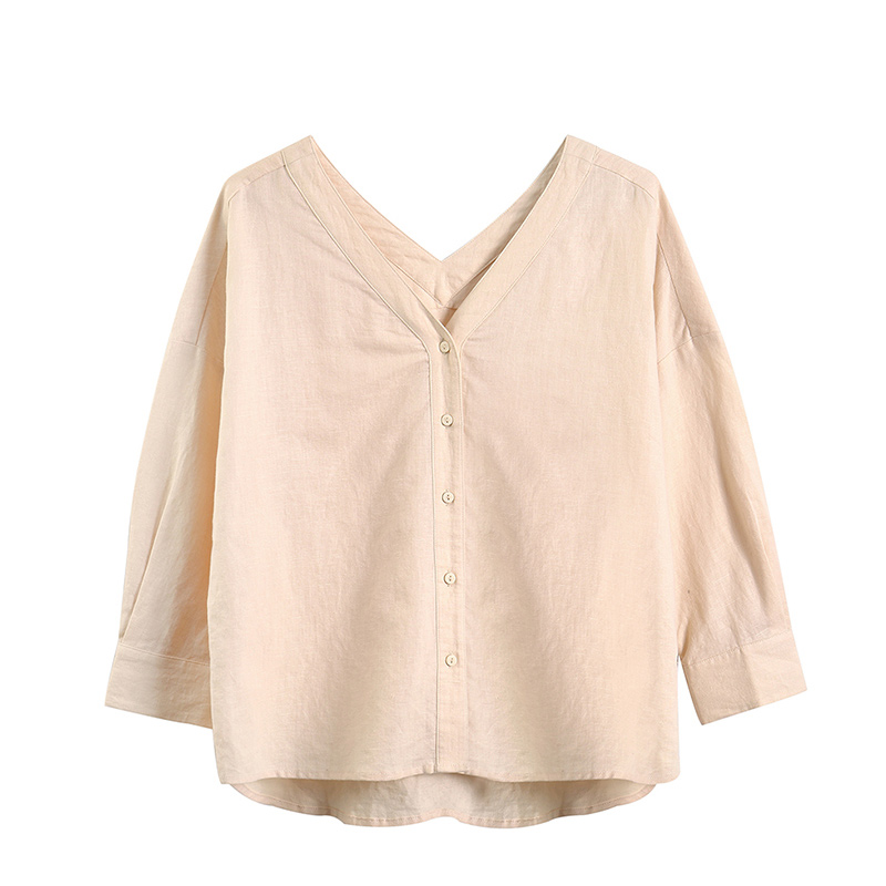 Image 5 - INMAN  Clear Linen V neck Literary Drop shoulder Sleeve Women BlouseBlouses & Shirts   -