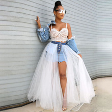 Echoine Denim Sheer Mesh Lace Patchwok Skirt Tulle Tutu Pleated Long White Sexy Club Outfits Mini Skirts Streetwear