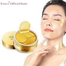 Fonce 24K altın kristal kollajen jel göz yamaları 60 adet uyku maskesi sökücü kırışıklık karşıtı yaş Eyebag tedavisi koyu daireler