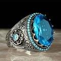 В винтажном стиле, сапоги в панковском стиле, мужские кольца овал синий большой камень для мужчин и женщин серебро Цвет резной узор Пара Кол...