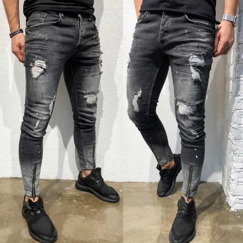 Skinny Taped Jeans Men Brand New Stretchy Mens Biker Pencil Pants Casual Slim Fit Elastic Destroyed Ripped Denim Pants Trousers