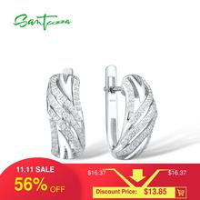 SANTUZZA Silver Earrings For Women Authentic 925 Sterling Silver  Sparkling Cubic Zirconia brincos Fashion Jewelry