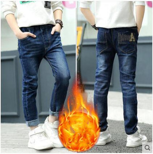 Image 5 - 2020 winter childrens clothes boys jeans casual slim thicken fleece denim baby boy jeans for boys big kids jean long trousers