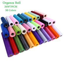 26M*29CM Organza Roll for DIY Wedding Flowers Chair Cover Crystal Organza Tulle Roll Fabric for Christmas Event Party Decoration