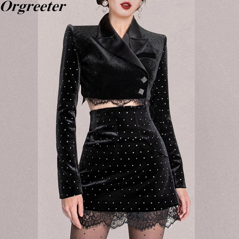 Retro Bronzing Velvet Black Two piece set Women Notched collar Long Sleeve Short Jacket and High waist Lace Trim Mini Skirt Sets
