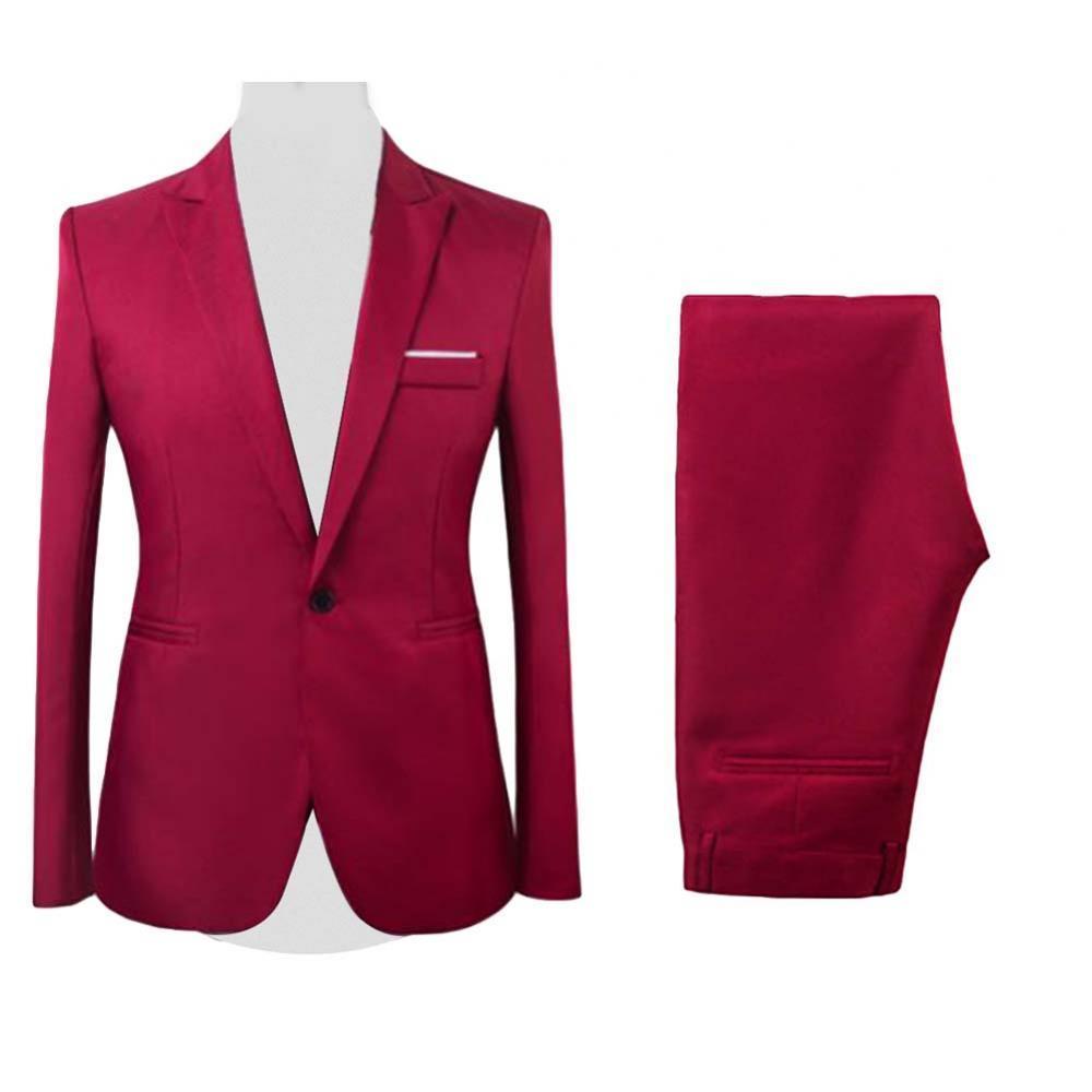 2Pcs/Set Men Suits Formal Business Party Solid Color Long Sleeve Button Closure Blazer Suit Pants Two-pieces Suits 2021