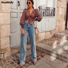 MosiMolly-pantalones vaqueros lavados para mujer, ropa de calle, de pierna ancha, largos, a la moda, 2020
