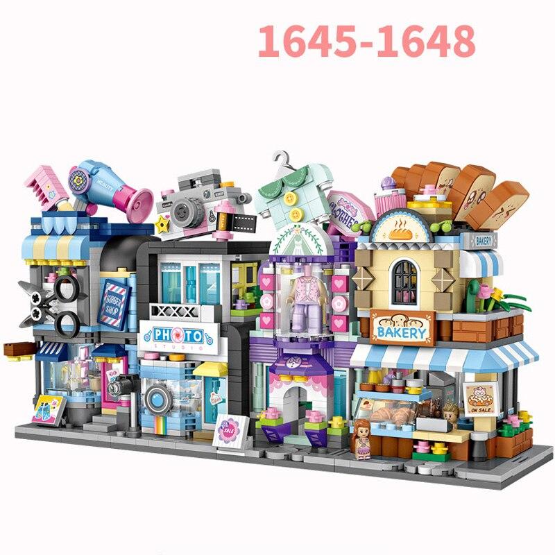 Mini bloco da cidade rua vista barbeiro penteado casa loja de moda padaria câmera estúdio construção tijolos brinquedos para crianças presente