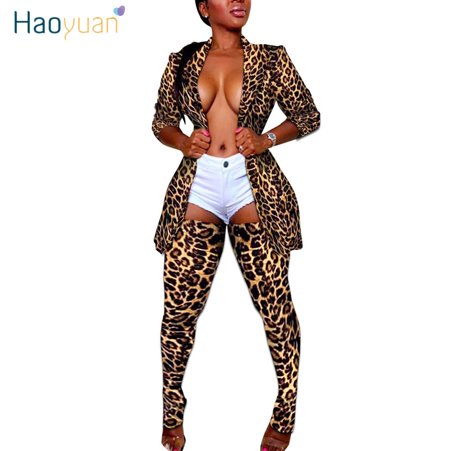 HAOYUAN Plus Size Camo Leopard Two Piece Set Women Rave <font><b>Festival</b></font> Top Pant Fall 2 Piece Matching Sets <font><b>Sexy</b></font> Birthday Club <font><b>Outfits</b></font> image