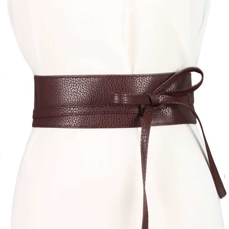 Fashion Sweet Women Dress Accessories Solid Color Bow Wide Belt Tie Wrap Around Obi Waist Band