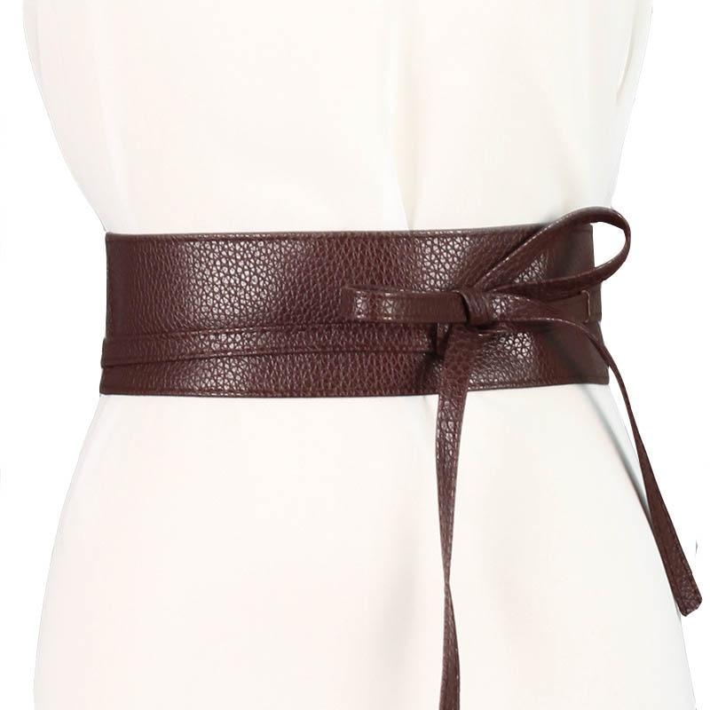 Fashion Sweet Women Dress Accessories Solid Color Bow Wide Belt Tie Wrap Around Obi Waist Band