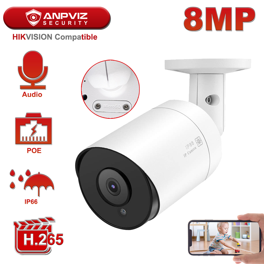 Hikvision Compatible Anpviz PoE IP Camera 8MP 4K H.265 Video Surveillance Outdoor Camera 2.8mm Remote Access Onvif NAS Mic Audio