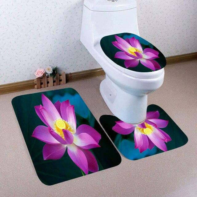 3 pçs natal rena trenó banheiro pedestal tapete + tampa toalete + banho conjunto tapete antiderrapante casa decoração de banho tapete macio