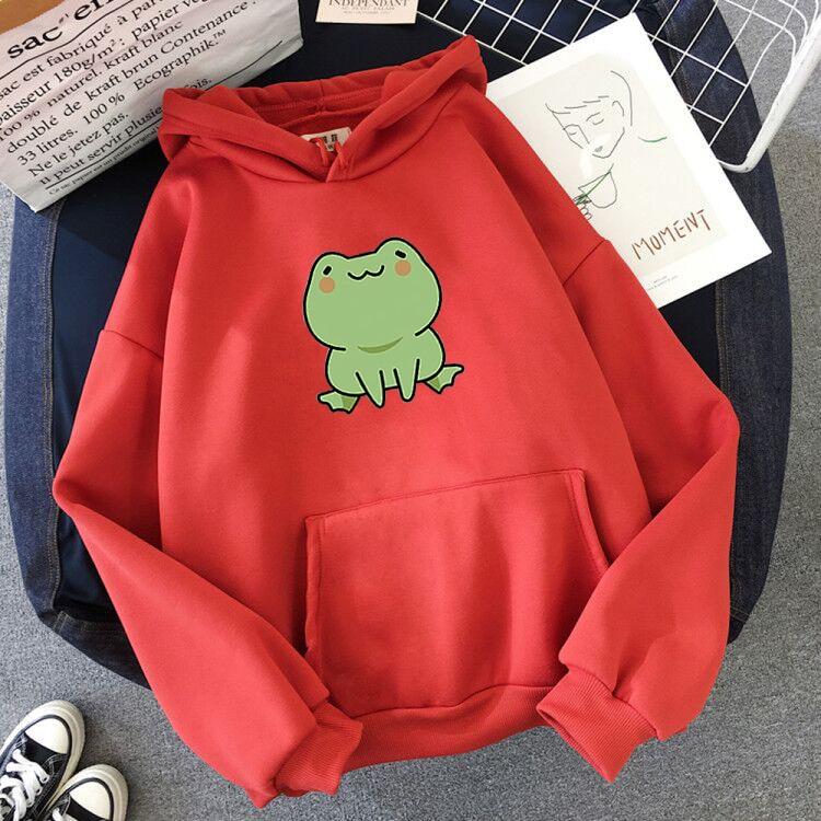 Women Hoodies Harajuku Long Sleeve sweatshirt women Cute Animal Frog Printed Hoodie Pocket Casual Pullover Loosen Tops gdragon 15