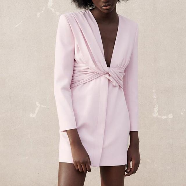 CP Long Sleeve Collected Waisted Dresses Women Fashion Casual V Neck Dress Women Elegant Mini Dresses Female Ladies 3