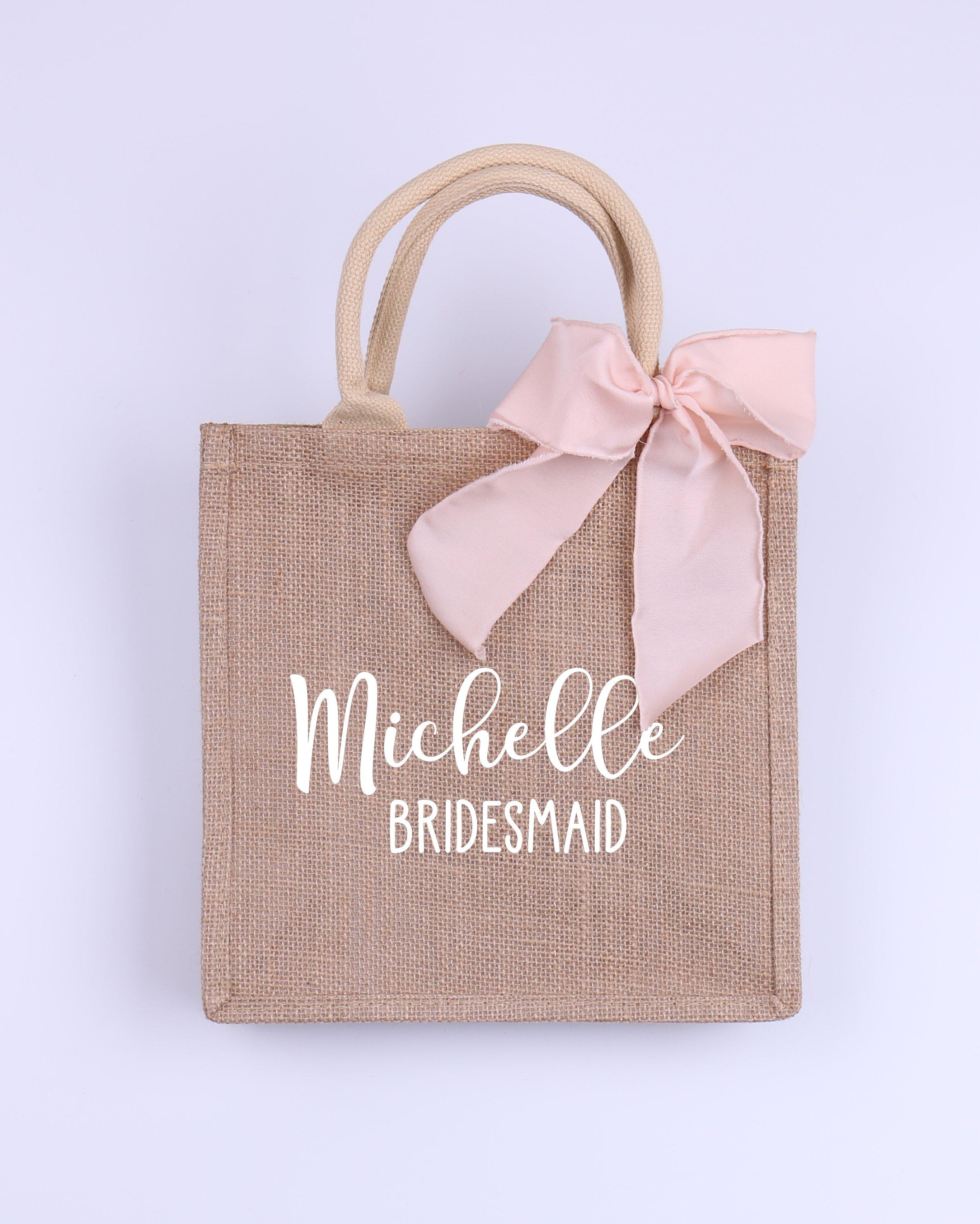 Bolsa de praia de compras personalizada da juta do casamento da boa vinda da dama de honra da serapilheira do saco do coração da tribo da noiva