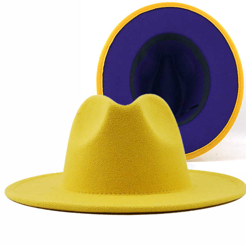 Grau rot Patchwork Wolle Filz Jazz Fedora Hut Frauen Unisex Breite Krempe Panama Party Trilby Cowboy Kappe Männer Gentleman Hochzeit hut XL