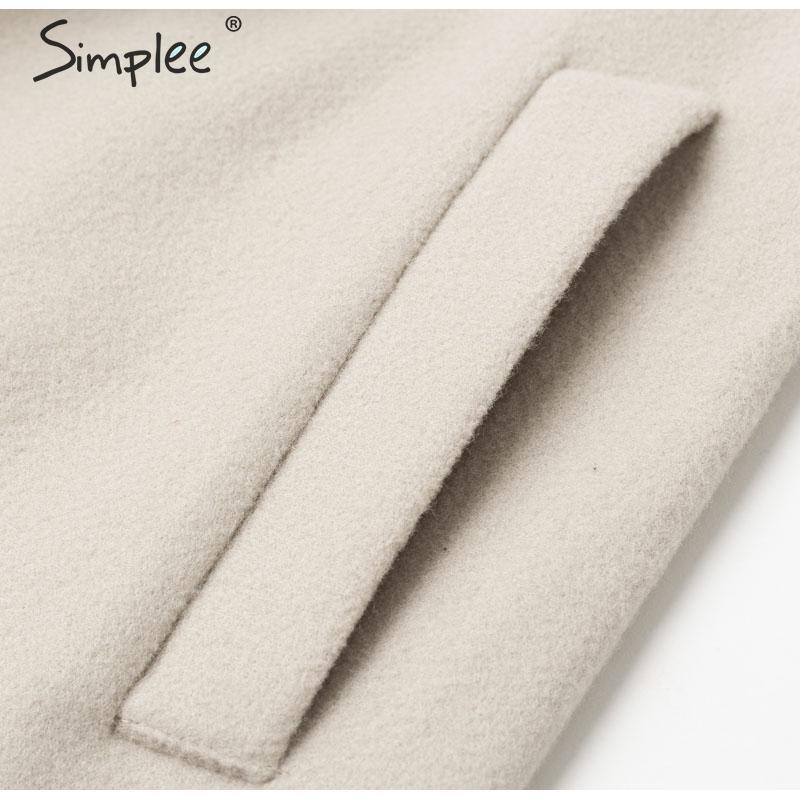 Simplee Wool blend winter tweed coat women Long sleeve elegant sash belt female outwear coat Autumn winter streetwear coat 14