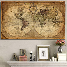 A Map Of The World Retro Old Art Picture Canvas Paintings For Living Room Prints Posters Cuadros Wall Art Home Decoration