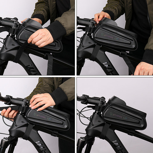 Image 5 - Колеса до 7,0 дюймов Водонепроницаемый велосипедная сумка переднюю верхнюю раму жесткий корпус сумка чехол для телефона сумка с сенсорным экраном MTB велосипед аксессуары