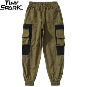 Image 5 - Pantalones Cargo a la cadera 2019, pantalones multibolsillos de Color negro para hombre, pantalones para correr, ropa de calle, pantalones tácticos militares de algodón verde