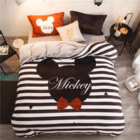 Chocolate Mickey Mouse Head flannel fleece comforter bedding sets twin size Kids quilt cover 3d Queen bed linen Winter Sheets