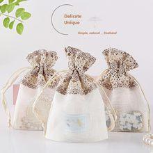 6pcs 10x14cm Rose Gold Wave Slub Yarn Jewelry Bag Drawstring Bags Bundle Pocket Storage Bags Gift Bag for Wedding Party Favors