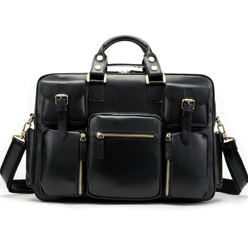 MAHEU Luxury Designer Black Briefcase For Men 100% Genuine Leather Multi Pockets Busienss Bag Daily Tote Cowskin Shoulder Bags