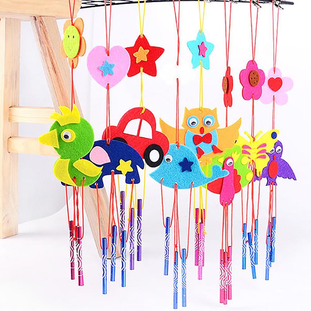 4Pcs DIY Aeolian Bell Toy 3D Animal Car Flower Aeolian Bells Kit Cloth Handmade Crafts Toy Gift Random Style