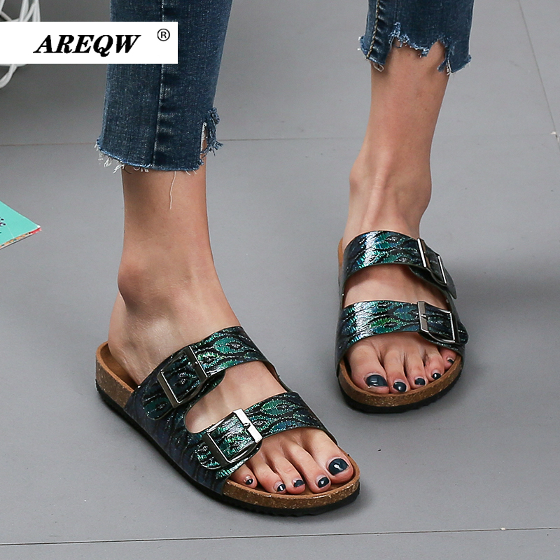 Woman Sandals Flat Slippers Sandals Cork Sole Slides Casual Flip Flop Beach Slippers Flats Shoes Plus Size