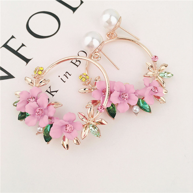 <font><b>Trendy</b></font> <font><b>Cute</b></font> <font><b>Pink</b></font> <font><b>Flower</b></font> <font><b>Earrings</b></font> <font><b>For</b></font> <font><b>Women</b></font> Girls Jewelry Female Rhinestone Gold Metal Round Circle Drop Gifts Brincos image