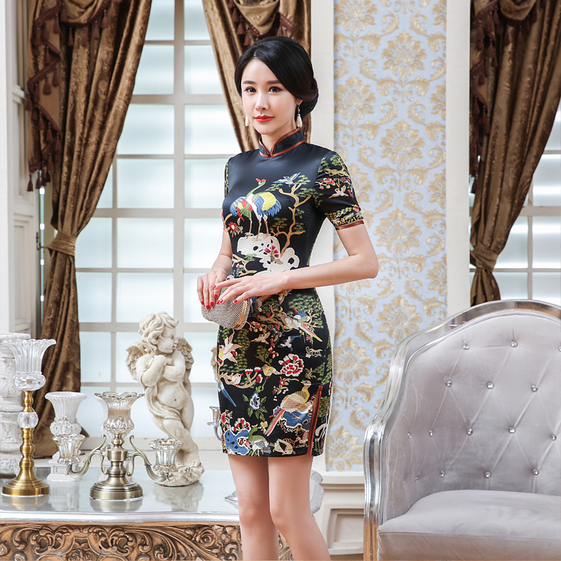Direct Selling LGD114-A New Style Silk Fabrics Cheongsam Dress Mid-length Short Sleeve Slim Fit Printed Costume Middle-aged