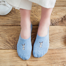 Rabbit Wool Lady Invisible Shallow Mouth Boat Socks Pure Salad Fur Embroidered Cartoon Cute