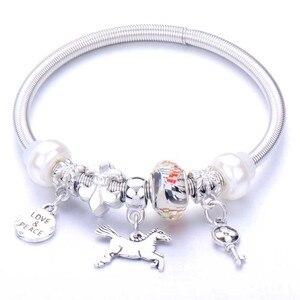 10 sztuk/partia Love Peace koraliki bransoletka z wiosną bransoletka klucz pazur koń wisiorek Charms Strand bransoletki dla kobiet kobieta