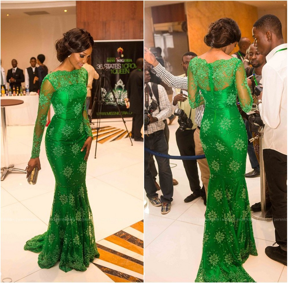 Elegant Green Long Sleeves Lace Mermaid Formal Evening Prom Gown 2020 New Fashion Miss Nigeria Mother Of The Bride Dresses