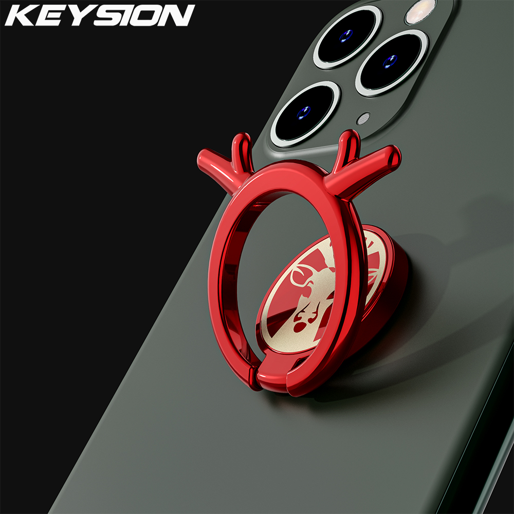KEYSION Plating Metal Mobile Phone Ring Stand Cute 360 Finger Ring Desk Stand Holder Fit For Car Magnetic Bracket Phone Holder