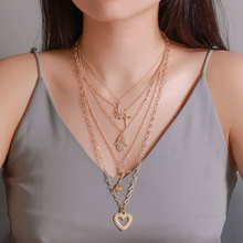 Creative Vintage Heart Shape Pendant Necklace Multilayered Rose Flower Maple Leaf Cross Women Fashion Jewelry