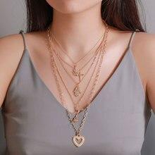 цена на Creative Vintage Heart Shape Pendant Necklace Multilayered Rose Flower Necklace Maple Leaf Cross Necklace Women Fashion Jewelry