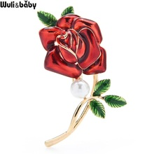 Wuli&baby Enamel Red Blue Rose Brooch Pins For Women Valentine's Day Gift Flower Brooches Badge