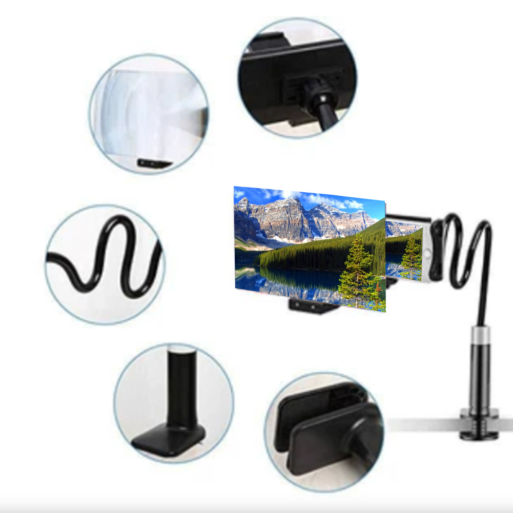 Mobile Phone HD Projection Phone Bracket Screen Magnifier 360 Degree Adjustable 8/12 Inch Phone Holder Stand Screen Enlarger